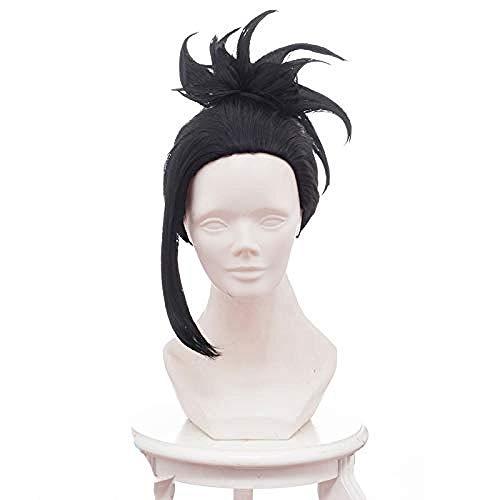 My Hero Academia Yaoyorozu Momo Cosplay peluca resistente al calor pelo sinttico Clip de garra cola de caballo Anime disfraz fiesta peluca negra
