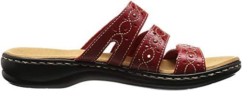 Clarks Women's Leisa Cacti Slide Sandal, Red Leather, 10 M US