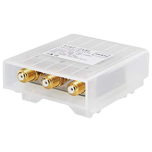 Venton DiSEqC 2/1 Schalter DIWO-218E I Sat Switch für 2 Satelliten 1 Sat-Receiver I Sat Umschalter 2.0 mit Wetterschutzgehäuse - 4K Ultra HD-TV 3D Full-HD I Einkabellösung Sat I kein Multischalter