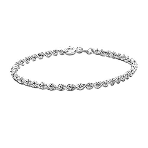 TJC 925 Sterling Silver Platinum Plated Rope Link Chain Bracelet for Women & Girls Size 7'