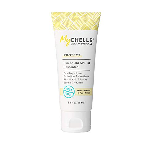 MyChelle Dermaceuticals Sun Shield SPF 28 Unscented, Daily Broad-Spectrum Protection, Mineral Based Sunscreen for All Skin Types, Gluten Free & Vegan and Cruelty-Free, 2.3 fl oz