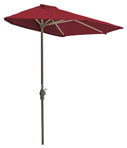 Blue Star Group Off-The-Wall Brella Sunbrella Half Umbrella, 9'-Width, Jockey Red