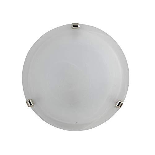 E-ENERGY Duna Lampada Plafoniera da Soffitto in Vetro Moderna Rotonda Attacco E27 1 Luce 30cm Bianca Made in Italy