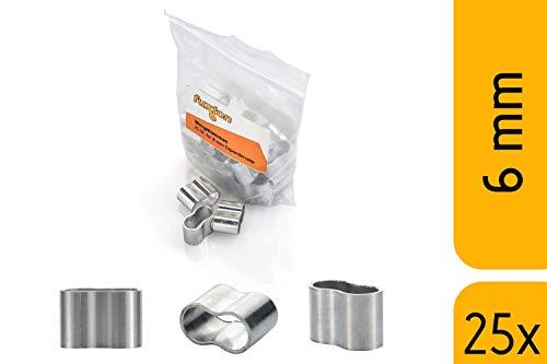 fuxton 25 Stk Profi Seilklemme 6 mm Würgeklemmen aus Aluminium, rostfrei, für Expanderseil, Planenseil, Gummiseil