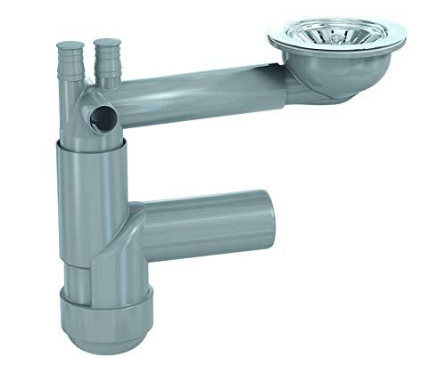Küchenspülenablauf, Spültisch Siphon Ablaufgarnitur Anschluss an Waschmaschine Spülmaschine Spülbecken Spüle