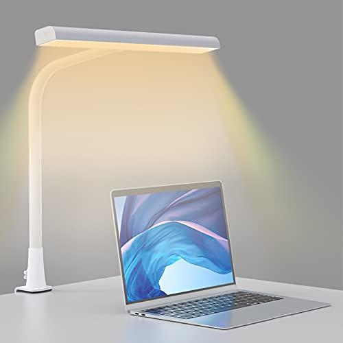 Lámpara de Escritorio LED Beigaon Luz de Lectura con Pinza USB de 10W, Cuello de Cisne, Temperatura de 3 Colores y Regulación gradual de Brillo, Función de Memoria, Control Táctil Bilateral, Blanco