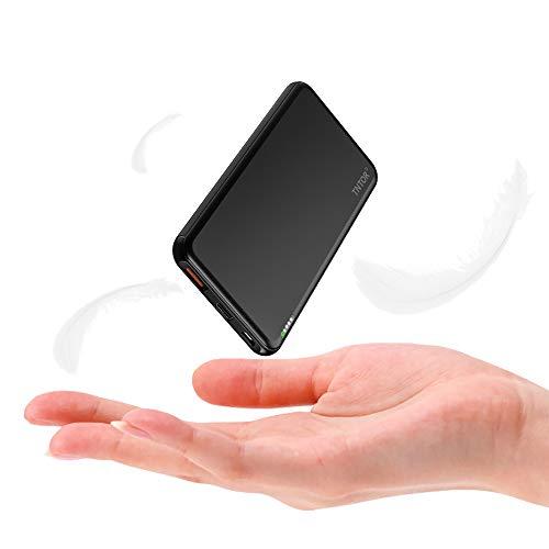 TNTOR Powerbank klein 10000mAh, PD 18W USB C und QC 3.0 USB A Output mit Ultra Slim Deluxe Aluminiumgehäuse Externer Akku für iPhone11 Pro/11/Xs Max, Samsung S10/Note10, iPad, Tablets usw. (Schwarz)