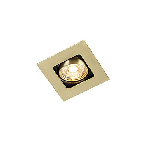 QAZQA Art Déco Foco empotrado cuadrado oro/latón orientable - ARTEMIS Acero Cuadrada Adecuado para LED Max. 1 x 50 Watt