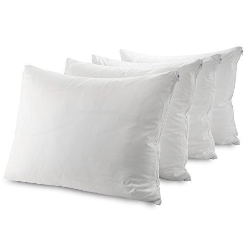 Guardmax Waterproof Pillow Protectors Standard Bed Bug Proof | Hypoallergenic Zippered Encasement Covers | Set of 4 Standard Size (20x26)