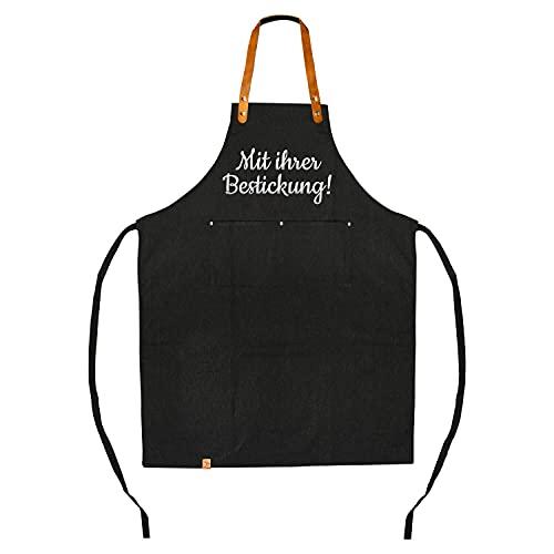 Deitert Grillschürze & Kochschürze mit individueller Bestickung Ihres Wunschtextes (Schwarz)