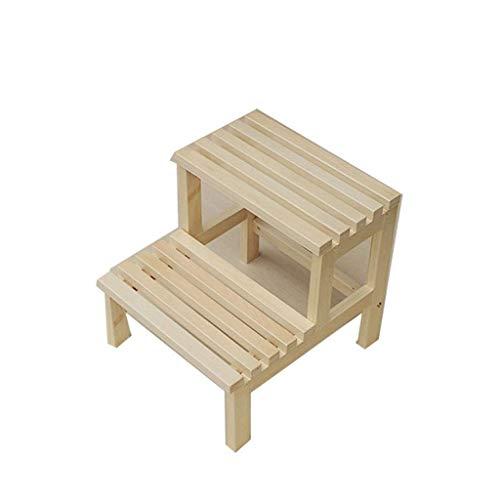 Taburete de paso de madera maciza taburete de doble paso taburete de escalera multifunción barril de baño taburete de jardín práctico taburete