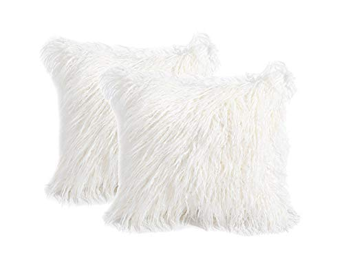 3C Collection 2 Pack Fluffy Cushion Covers White 45cm x 45cm, Soft Cuddly Faux Mongolian Fur Cushion Cover for Bed, Couch Decorative Furry Throw Pillow Covers