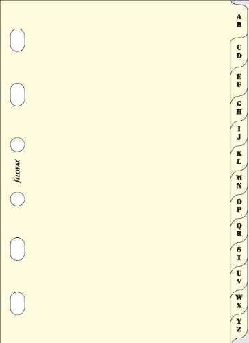 Filofax Pocket A-Z Index with 2 Letters Per Tab - Cream