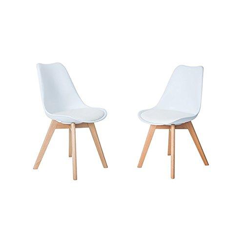 H.J WeDoo Lot de 2 chaises de Salle à Manger scandinaves, Chaises Rétro Bois de hêtre Massif - Blanc