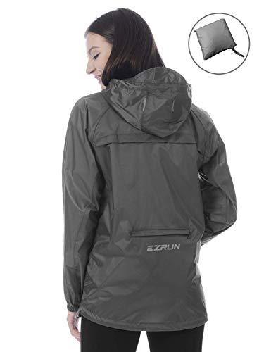 EZRUN Women's Waterproof Hooded Rain Jacket Windbreaker Lightweight Packable Rain Coats(Grey,l)