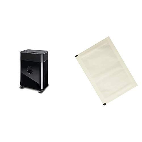 Dahle 35080 Aktenvernichter (80 Blatt, Autofeed Funktion: Automatischer Papiereinzug, P-4, Partikelschnitt) schwarz & Amazon Basics - Schmiermittelblätter für Aktenvernichter, 12er-Pack