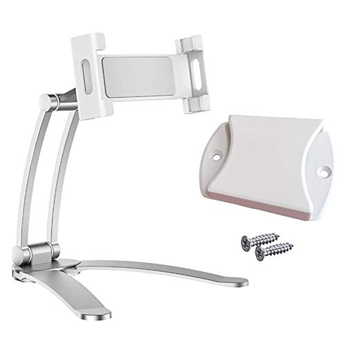 IPOTCH Kitchen Tablet Stand – 360 Counter and Wall Wobble Free Mount, Universal Desktop Mount & Phone Holder - Silver S