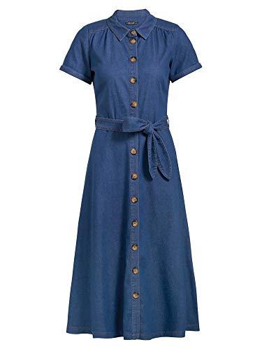King Louie Damen Hemdblusenkleid Olive Dress Chambray (River Blue, 34)