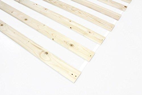 MSS® - Rete a doghe, avvolgibile, a 15 Listelli da ca. 63 mm, Distanza tra i Listelli: ca. 97 mm 70 x 200 cm Beige