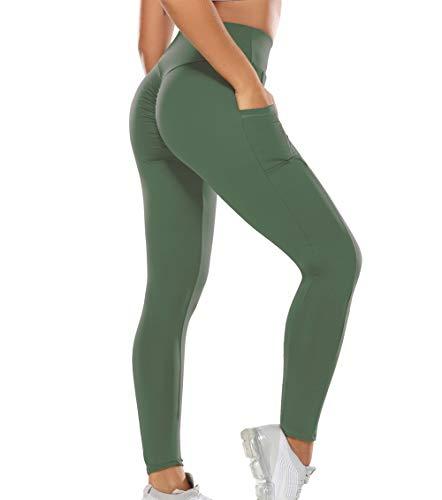 KIWI RATA Mallas Pantalones Deportivos Leggings con Bolsillos Mujer Fitness Cintura Alta Leggins Yoga Elásticos y Transpirables para Yoga Running Deporte