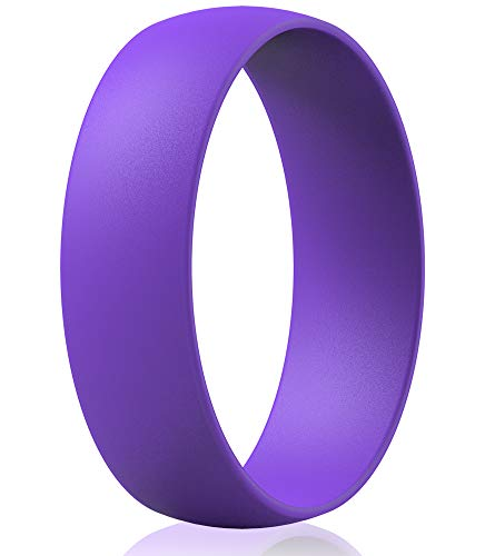 ThunderFit Silicone Wedding Rings for Men & Women - 6.3mm Wide - 1.65mm Thick (Purple, 6.5 - 7 (17.3mm))
