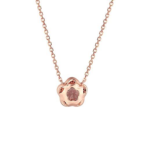 Gargantilla de plata de ley 925 con diseño de flor de cerezo rosa con cristales de color rosa pandante para parejas, amor y regalo de mujer