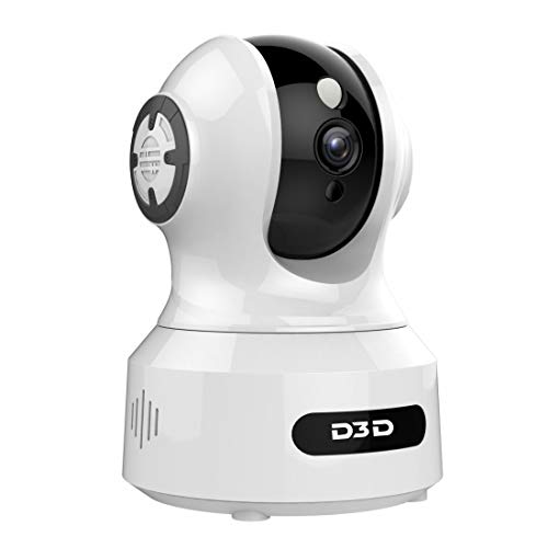 D3D 826 (1920x1080P) 2 0MP Alexa Enabled | Face Detection | Voice Detection | Smart Tracking | WiFi Wireless IP Night Vision Home Security CCTV Camera System with Mobile connectivity | White & Black