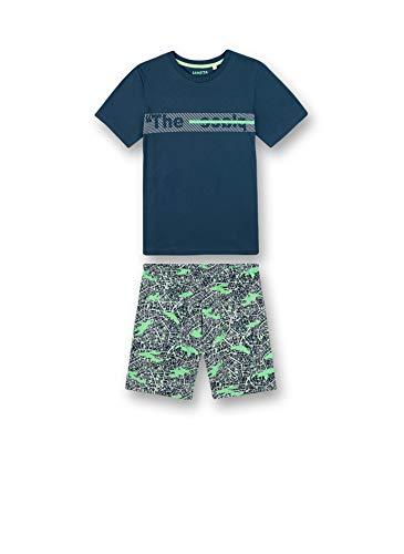 Sanetta Jungen Schlafanzug kurz blau Pyjamaset, Blue Teal, 128