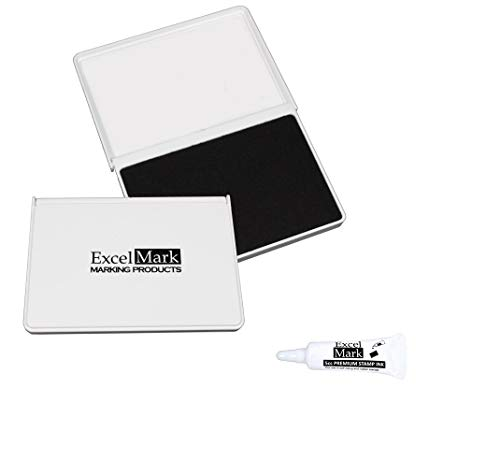 ExcelMark Ink Pad for Rubber Stamps 2-1/8' by 3-1/4' (Black Ink) - Extra Ink Bottle Included