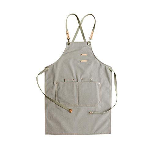 Accesorios para sala de estarDelantal de trabajo de lona impermeable Hombres Mujeres Cocinar Peto de cocina con peto con bolsillos para herramientas, correas cruzadas en la espalda y ajustables