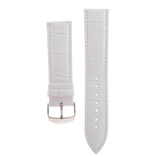 baosity Durable piel sintética suave 16/18/20/22mm banda de reloj unisex funda de piel correa de reloj pines Nuckle cierre, Blanco