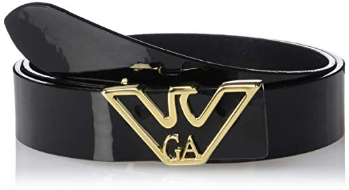 Emporio Armani Damen Black Glossy Fashion Belt With Eagle Hardware Feature Gürtel, schwarz, 60