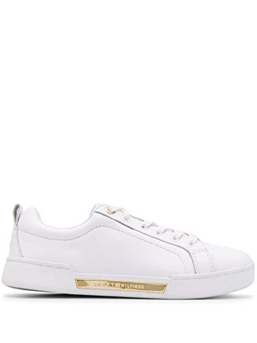 Luxury Fashion | Tommy Hilfiger Dames FW0FW04707YBS Wit Leer Sneakers | Lente-zomer 20