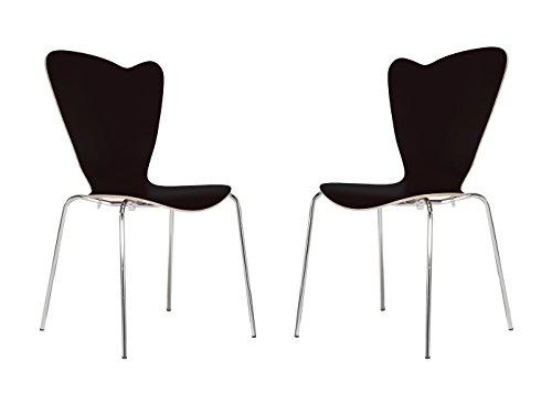 MAUSER SITZKULTUR 2er-Set Design Stühle HEART in Holzdekor schwarz ohne Armlehne, stapelbar, M528