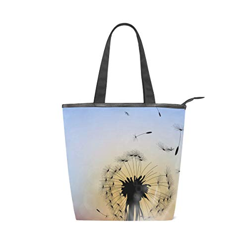 DEZIRO Damen Handtasche Pusteblume mit Sonnenuntergang