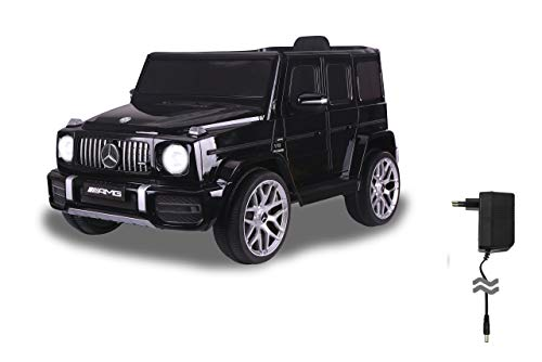 Jamara 460641 Ride-on Mercedes-Benz AMG G 63 12V-2-Gang, 2 leistungsstarke Antriebsmotoren, 12V Akku Lange Fahrzeit, USB, Akkuanzeige, Softanlauf, gefederte Hinterachse, LED, schwarz