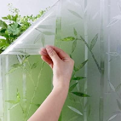 Película de Vidrio de bambú, antiestática y sin Pegamento, película para Ventanas de protección de privacidad, Adecuada para la decoración de la Tienda de la Oficina en el hogar R 60x100cm