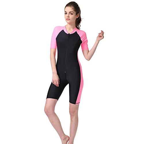 HUOFEIKE Trajes de neopreno de nailon de longitud completa, traje de baño monopieza ultra elástico, con cremallera frontal para surf, natación, esnórquel, windsurf, lanchas motoras, XL