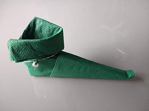 Servietten, Baby Stiefel in grün, 12 er Set mit einem Glöckchen. Für Ihre Tischdekoration, zur Geburt, Taufe, Hochzeit,Geburtstag,Weihnachten oder als nettes Mitbringsel