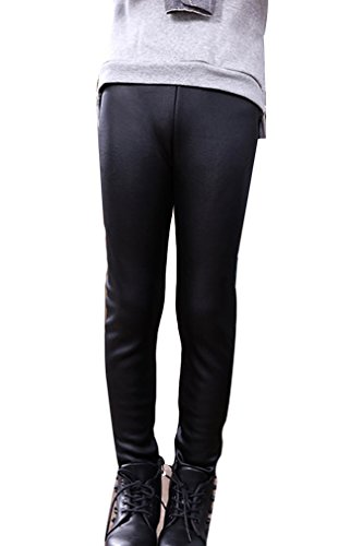 Guiran Niña En Mallas Leggings PU Cuero Artificial Elástico Pantalones Plus Espesamiento Leggins