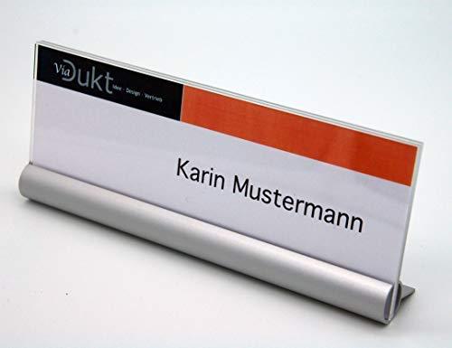 Tischaufsteller Acryl Alu, Aufsteller LATON Namensschilder Tischnamenschild 165x65mm alu acryl