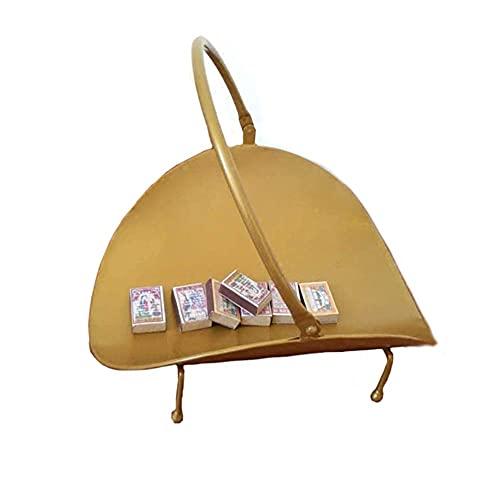 ADSE Gold Compact Holzregal Feuerkorb mit ovaler Basis, pulverbeschichteter Gusseisen-Brennholzhalter Holzkorb für offenes Feuer, 35 cm hoch