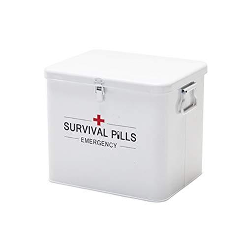 Byrhgood Kit di Pronto soccorso Erste-Hilfe-Storage Box Vintage-Metall-Medical-Aufbewahrungsbehälter, mit Double-Layer und 4 Fächern (Color : White)