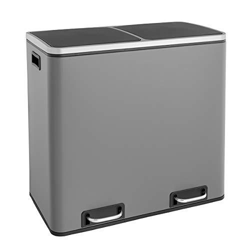 SVITA TM2X24 Treteimer 48 Liter Grau Abfalleimer Mülleimer Design Mülltrennung Papierkorb Küchen-Ordnung Trennsystem