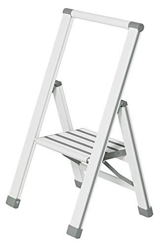 Wenko Escalera Plegable 601014100de 1peldaño, en Aluminio Blanco o Gris (44x 74x 5,5cm)
