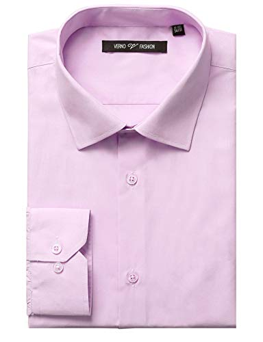 Verno Fashion Men's Classic Fit Solid Dress Shirt Long Sleeve Spread-Collar Business Shirts (White, 14-14 1/2-32/33)