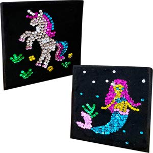 3 Bees & Me Unicorn & Mermaid Sequins Crafts Kit for Girls and Boys - Fun Activity Gift for Kids Age 3 4 5 6 7 Years Old