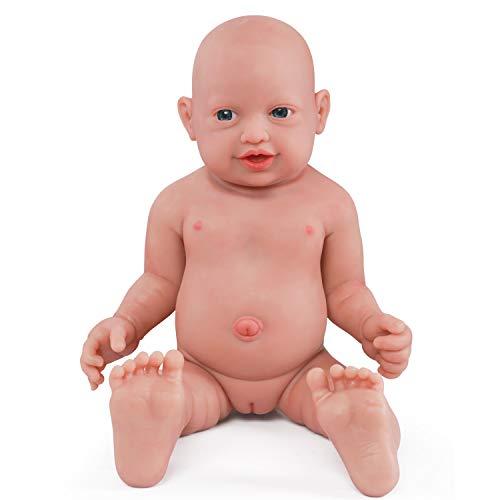 Vollence Muñeco bebé durmiente realista de 46 cm. Libre de PVC. Ojos cerrados. Muñeco bebé casi real con cuerpo completo lleno de silicona. Hecho a mano. Muñeco bebé de silicona suave con ropa - Chico