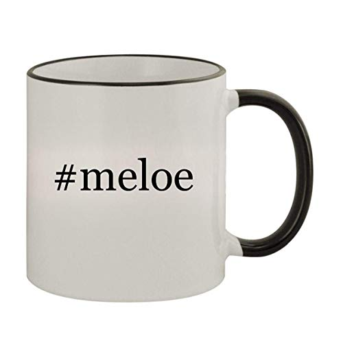 #meloe - 11oz Ceramic Colored Rim & Handle Coffee Mug, Black