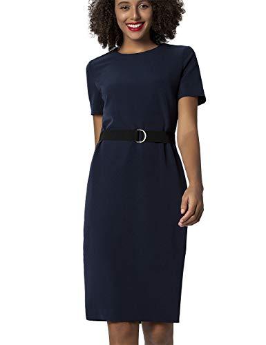 APART klassisches Damen Kleid, Etuikleid, Businesskleid, Nachtblau, mit elastischem Gürtel, Gehschlitz, figurbetonender Schnitt